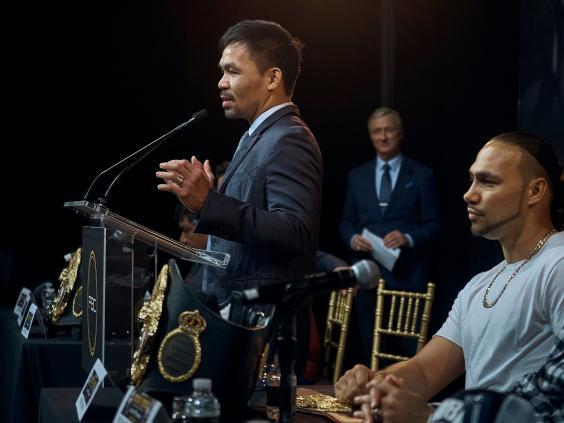 Manny Pacquiao hopes to roll back the years vs Keith Thurman (AP)