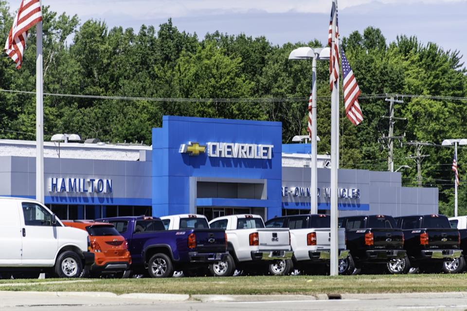 A Chevrolet dealership in Warren, Michigan. Founded in 1911, Chevrolet is a subsidiary of General Motors and manufactures a variety of cars and trucks.