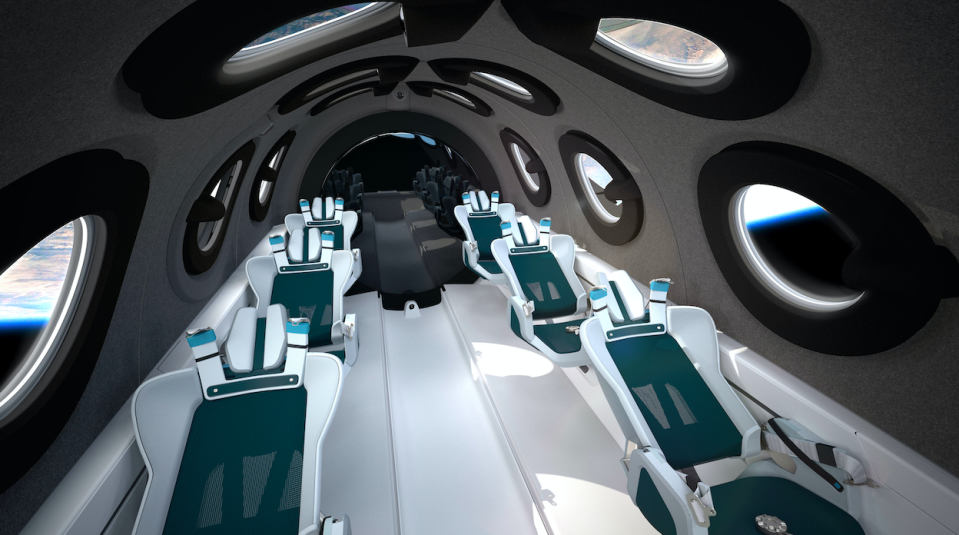 The space cabin includes an 'unrestricted astronaut float zone'. (Virgin Galactic/PA)