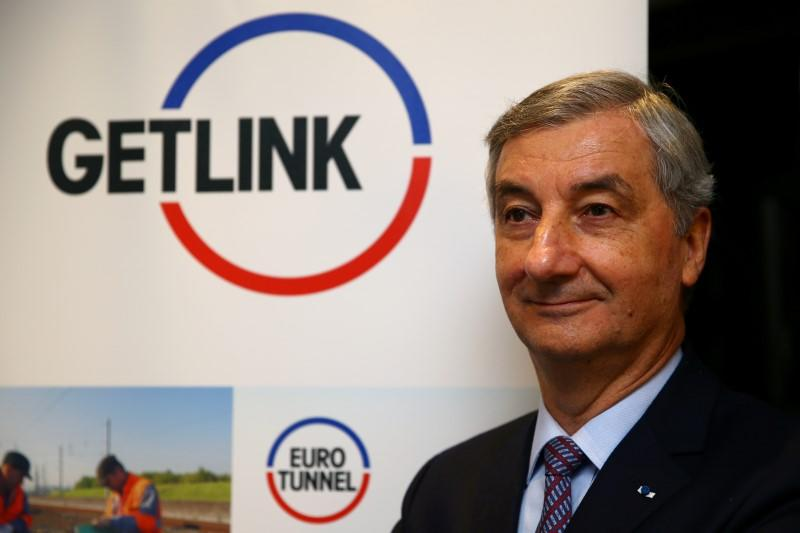FILE PHOTO - Jacques Gounon, Chairman and CEO of Channel tunnel operator Getlink, poses before the company's 2017 annual results presentation in Paris