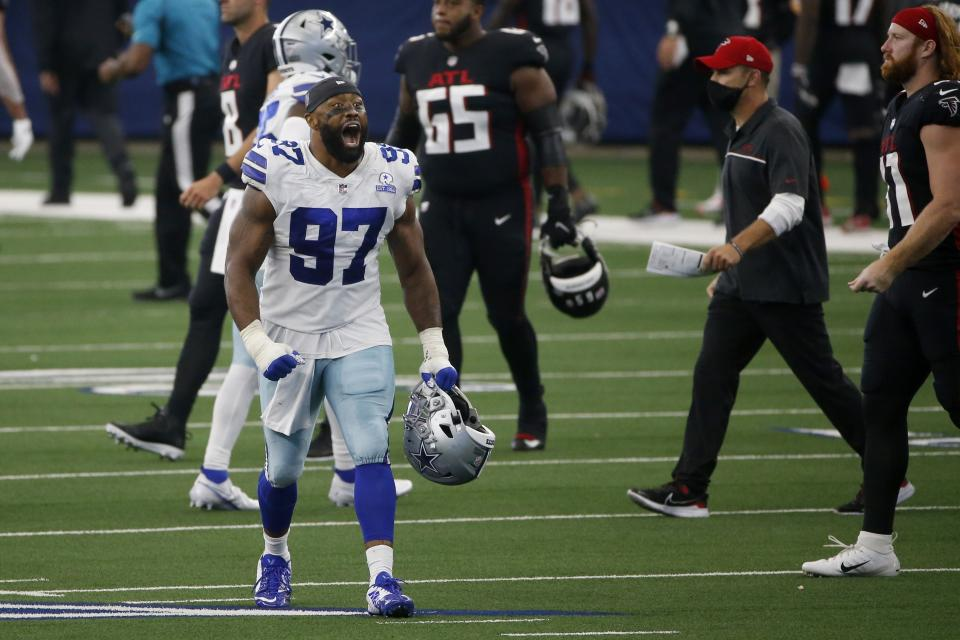 Dallas Cowboys defensive end Everson Griffen (97) celebrates their 40-39 win against the Atlanta Falcons. (AP Photo/Ron Jenkins)