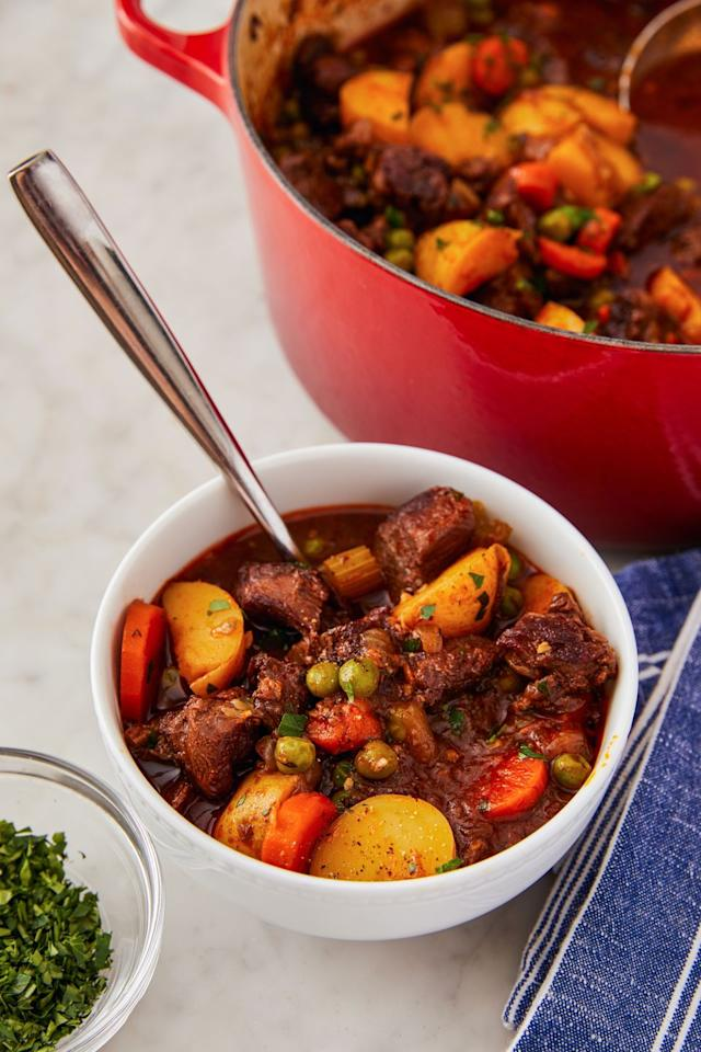 """<p>That bag of peas in the freezer is good for more than just icing injuries. It adds a pop of sweetness to rich and hearty dishes, like beef stew. Just throw them in (there's no need to defrost them) during the last two minutes of cooking. </p><p>Get the recipe from <a href=""""https://www.delish.com/cooking/recipe-ideas/a23515497/easy-beef-stew-recipe/"""" target=""""_blank"""">Delish</a>.<br></p>"""