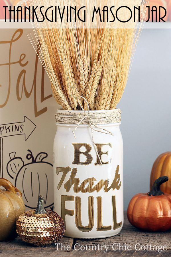 "<p>There's a lot to be thankful for on Turkey Day—and simple crafts are definitely on our list. Fill up this DIY Mason jar with dried plants and use it as a centerpiece or mantel décor.</p><p><strong>Get the tutorial at <a href=""https://www.thecountrychiccottage.net/thanksgiving-mason-jar-craft/"" rel=""nofollow noopener"" target=""_blank"" data-ylk=""slk:The Country Chic Cottage"" class=""link rapid-noclick-resp"">The Country Chic Cottage</a>.</strong></p><p><strong><a class=""link rapid-noclick-resp"" href=""https://www.amazon.com/Ball-Regular-32-Ounces-2-Units-Pack/dp/B01N6QBJG0/ref=sr_1_4?tag=syn-yahoo-20&ascsubtag=%5Bartid%7C10050.g.2063%5Bsrc%7Cyahoo-us"" rel=""nofollow noopener"" target=""_blank"" data-ylk=""slk:SHOP MASON JARS"">SHOP MASON JARS</a><br></strong></p>"