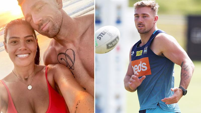 Bryce and Shanelle Cartwright, pictured here on Instagram and on the footy field.