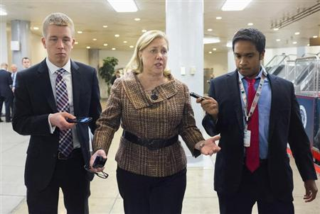 Senator Mary Landrieu (D-LA) speaks to reporters after the Democratic weekly policy luncheon on Capitol Hill