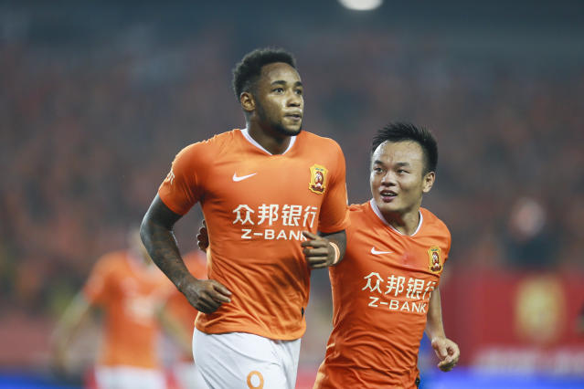 Rafael Silva comemora gol pelo Wuhan Zall Foto: Visual China Group via Getty Images/Visual China Group via Getty Images