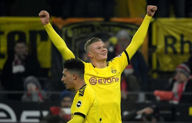 Norway striker Erling Braut Haaland, 19, has five goals in two league games after scoring twice in Borussia Dortmund's 5-1 win over Cologne on Friday. (AFP Photo/Ina FASSBENDER)