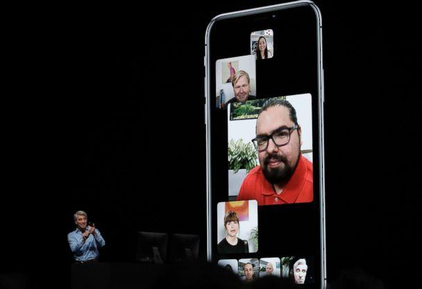 PHOTO: Craig Federighi, Apple's senior vice president of Software Engineering, speaks about group FaceTime during an announcement of new products at the Apple Worldwide Developers Conference, June 4, 2018, in San Jose, Calif. (Marcio Jose Sanchez/AP)
