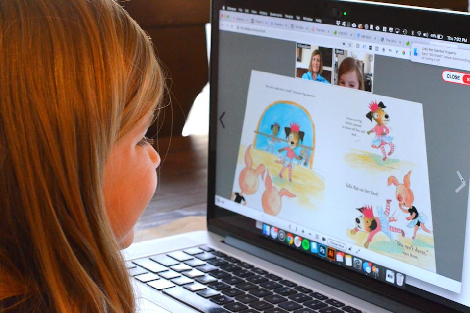"""<p>We love this brilliant way for your kids to have virtual storytime with friends and family. Grandma and grandpa can read to (or with) their grandchildren — and keep their attention! Plus, <a href=""""https://www.readeo.com/"""" rel=""""nofollow noopener"""" target=""""_blank"""" data-ylk=""""slk:Readeo"""" class=""""link rapid-noclick-resp"""">Readeo</a> has partnered with some of the biggest names in publishing, so they have a huge library of books to choose from.</p> <p><strong>$9.99 per month or $99.99 for an annual membership, <a href=""""https://www.readeo.com/"""" rel=""""nofollow noopener"""" target=""""_blank"""" data-ylk=""""slk:readeo.com"""" class=""""link rapid-noclick-resp"""">readeo.com</a></strong></p> <p><strong>*Use discount code EWREADER for a one-month free trial</strong></p>"""