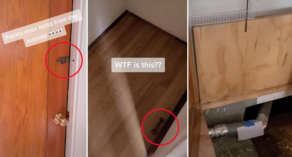 A tiktok video of a woman finding a hidden basement in her home