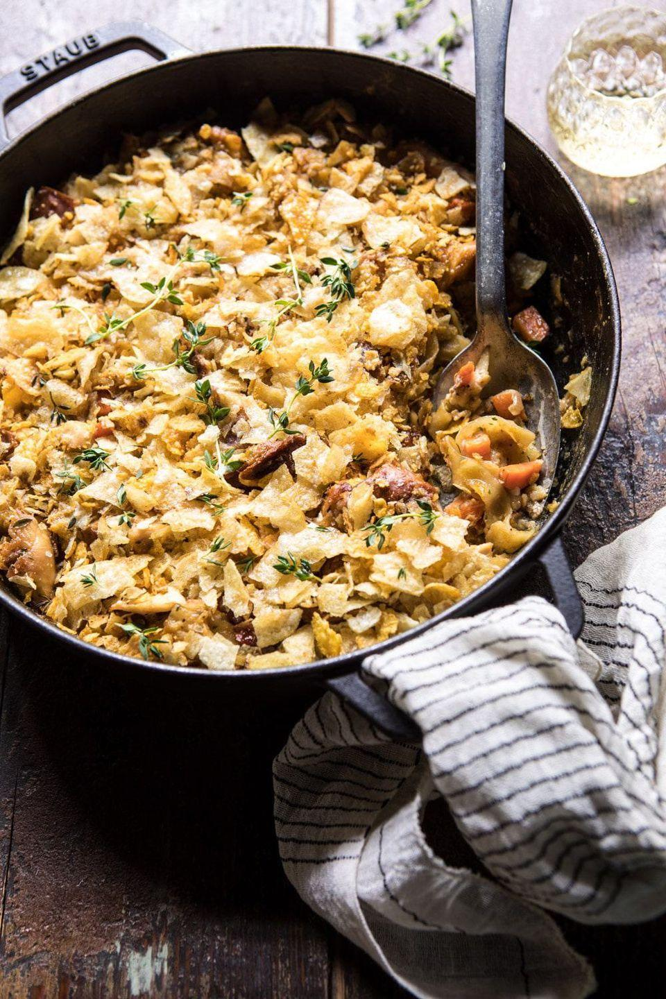 """<p>This casserole is just like a bowl of chicken noodle soup, except it's even more delicious: It's rich, cheesy, and crunchy on top. </p><p><strong>Get the recipe at <a href=""""https://www.halfbakedharvest.com/homemade-chicken-noodle-casserole/"""" rel=""""nofollow noopener"""" target=""""_blank"""" data-ylk=""""slk:Half Baked Harvest"""" class=""""link rapid-noclick-resp"""">Half Baked Harvest</a>.</strong> </p>"""