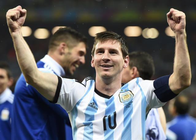 Argentina's Lionel Messi celebrates his team's win over the Netherlands after their 2014 World Cup semi-finals at the Corinthians arena in Sao Paulo July 9, 2014. REUTERS/Dylan Martinez (BRAZIL - Tags: SOCCER SPORT WORLD CUP TPX IMAGES OF THE DAY)