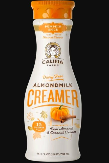 "<p>Speaking of tasty lattes, pour this <product href=""https://www.califiafarms.com/products/pumpkin-spice-creamer?gclid=EAIaIQobChMIvLOeh_D66wIVB7LICh2tfAJYEAYYASABEgJwZPD_BwE"" target=""_blank"" class=""ga-track"" data-ga-category=""internal click"" data-ga-label=""https://www.califiafarms.com/products/pumpkin-spice-creamer?gclid=EAIaIQobChMIvLOeh_D66wIVB7LICh2tfAJYEAYYASABEgJwZPD_BwE"" data-ga-action=""body text link"">Pumpkin Spice Almond Milk Creamer</product> ($6) from Califia Farms into your coffee or tea (I prefer it with black tea!) to elevate the coziness of your go-to morning beverage.</p>"