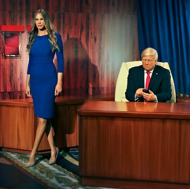 Waxworks of former President Donald Trump and former first lady Melania Trump have been unveiled at the newMadame Tussauds museum in Dubai. (Photo: via Associated Press)