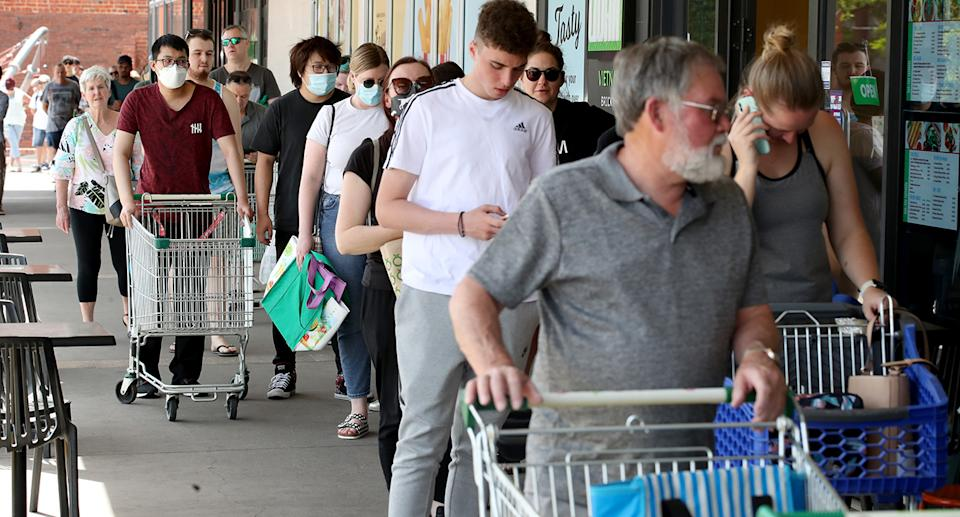 Crowds of shoppers have flocked to supermarkets in South Australia despite no lockdown being announced. Source: Getty Images
