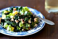 """<div class=""""caption-credit""""> Photo by: Healthy Green Kitchen</div><div class=""""caption-title"""">Fall Greens with Apples and Walnuts</div>Lettuce and shredded kale are a fall dream when paired with sweet Gorgonzola cheese, apples and walnuts before being tossed in a maple vinaigrette. <br> <br> <b>Recipe: <a rel=""""nofollow noopener"""" href=""""http://www.healthygreenkitchen.com/fall-garden-greens-with-apples-and-walnuts.html"""" target=""""_blank"""" data-ylk=""""slk:Fall Greens with Apples and Walnuts"""" class=""""link rapid-noclick-resp"""">Fall Greens with Apples and Walnuts</a></b> <br>"""