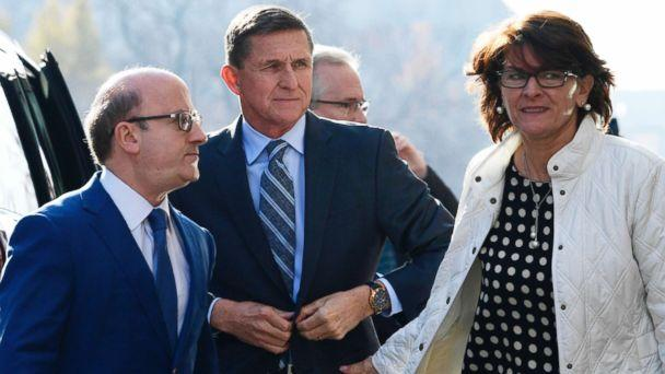 PHOTO:Former Trump national security adviser Michael Flynn, center, arrives at federal court in Washington, Friday, Dec. 1, 2017. At left is his attorney,Robert Kelner. Flynn's wife, Lori Andrade, is at right. (Susan Walsh/AP Photo)
