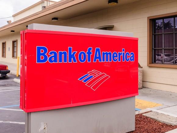 A Bank of America sign outside a branch.