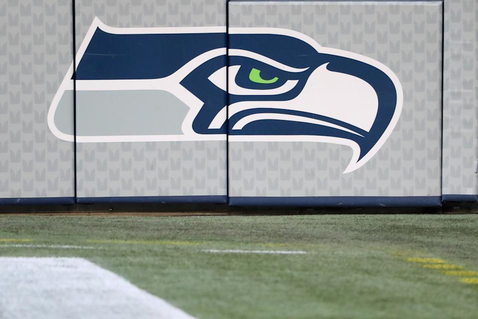 SEATTLE, WASHINGTON - NOVEMBER 19: A general view of a Seattle Seahawks logo at Lumen Field on November 19, 2020 in Seattle, Washington. (Photo by Abbie Parr/Getty Images)