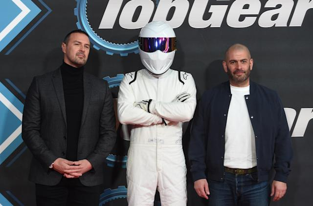 "LONDON, ENGLAND - JANUARY 20: Paddy McGuinness, The Stig and Chris Harris attend the ""Top Gear"" World TV Premiere at Odeon Luxe Leicester Square on January 20, 2020 in London, England. (Photo by Stuart C. Wilson/Getty Images)"