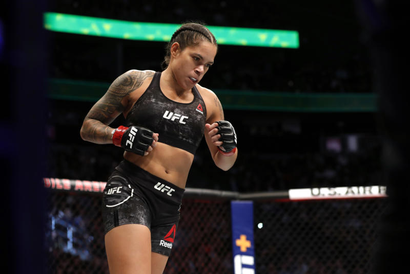 UFC women's bantamweight champion Amanda Nunes enters the Octagon for a title defense against Germaine de Ranamie during UFC 245 at T-Mobile Arena on December 14, 2019 in Las Vegas, Nevada. Nunes retained her title by unanimous decision. (Photo by Steve Marcus/Getty Images)