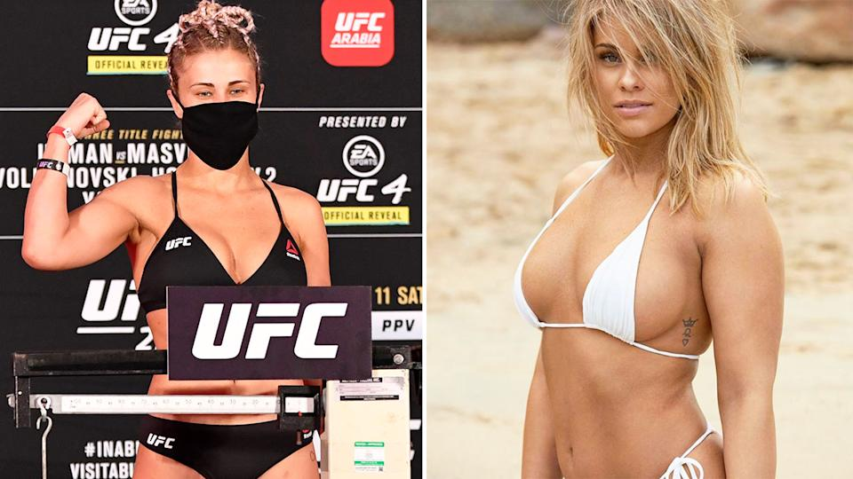 Seen here, Paige VanZant posing for a UFC photo and in a Sports Illustrated photo shoot on the right.