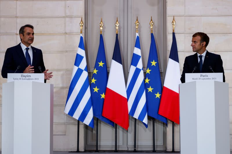 France's President Macron meets Greek Prime Minister Kyriakos at the Elysee Palace in Paris