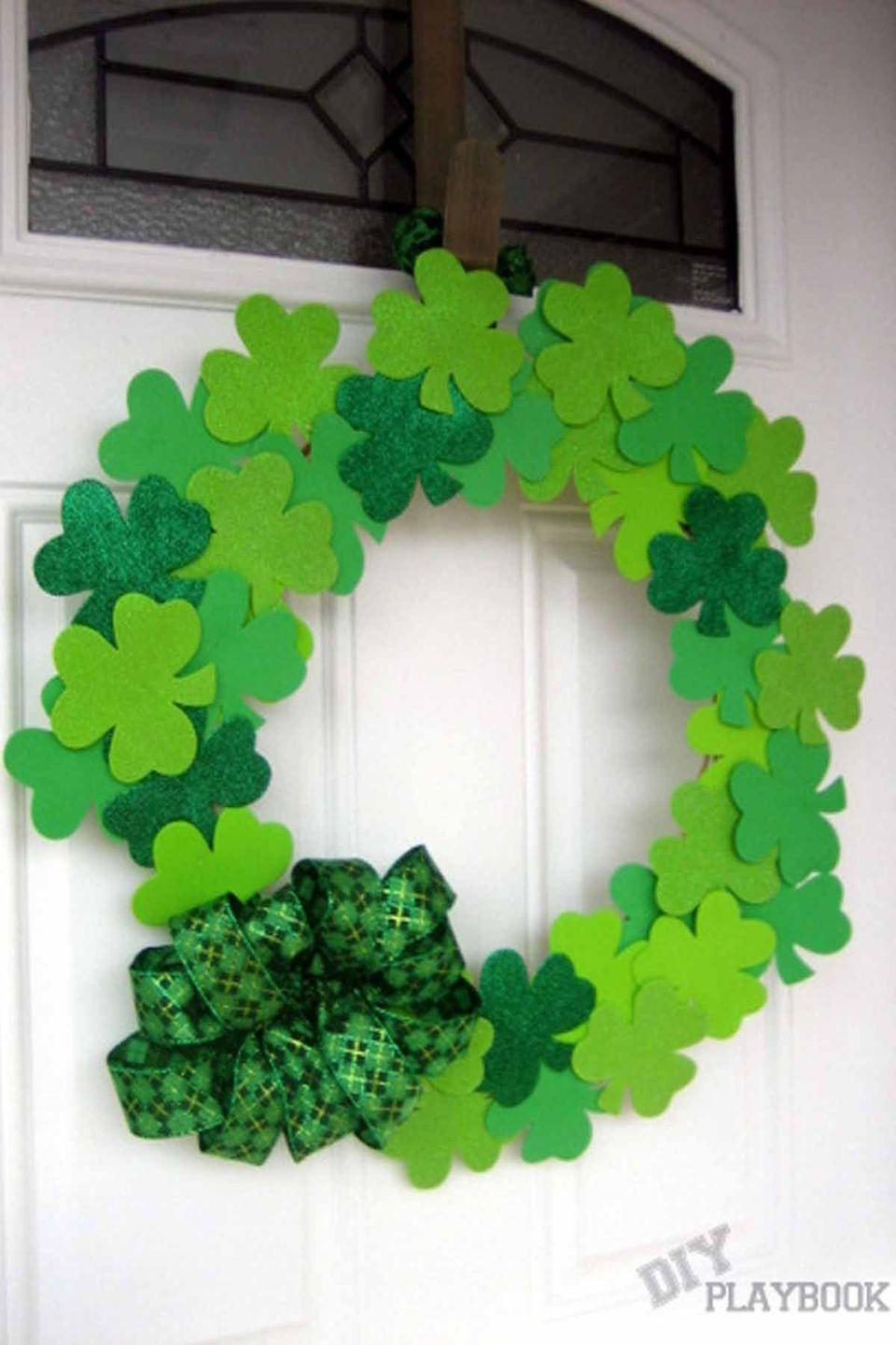 """<p>Everything you need to make this <a href=""""https://www.womansday.com/home/decorating/g1823/front-door-decor-countryliving/"""" rel=""""nofollow noopener"""" target=""""_blank"""" data-ylk=""""slk:beautiful green wreath"""" class=""""link rapid-noclick-resp"""">beautiful green wreath</a> can be found at the Dollar Store.</p><p><em>Get the tutorial at <a href=""""http://thediyplaybook.com/2013/03/dollar-tree-challenge.html"""" rel=""""nofollow noopener"""" target=""""_blank"""" data-ylk=""""slk:The DIY Playbook"""" class=""""link rapid-noclick-resp"""">The DIY Playbook</a>. </em></p>"""