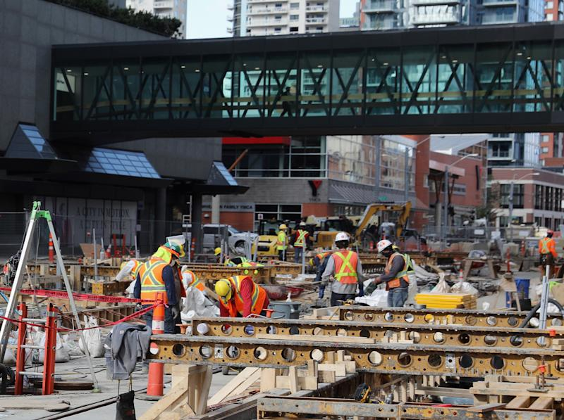 EDMONTON, ALBERTA - AUGUST 28: Construction continues on the LRT - Light Rail Transit through the city centre as photographed on August 28, 2020 in Edmonton, Alberta, Canada. (Photo by Bruce Bennett/Getty Images)