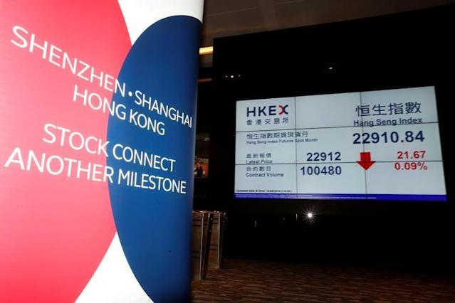 A banner promoting Shenzhen-Hong Kong Stock Connect is displayed at the Hong Kong Exchanges in Hong Kong August 16, 2016. REUTERS/Bobby Yip/File Photo