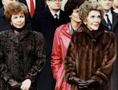 The conviviality extended to the leaders' wives Raisa Gorbacheva (left) and Nancy Reagan, shown here two years later at a meeting in Washington DC