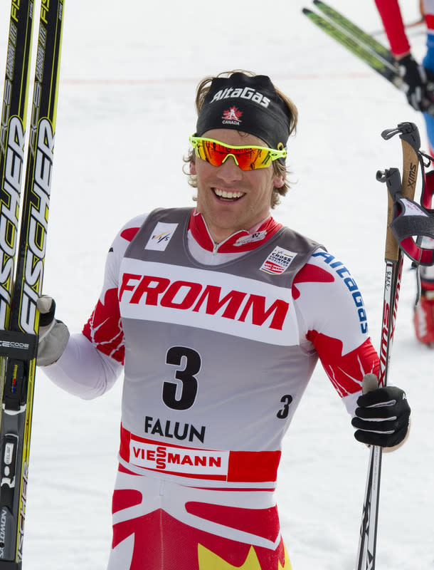 Canada's Devon Kershaw poses after the finish line of the season-ending FIS Cross-Country World Cup Men 15 km Free 'Handicap' Start on March 18, 2012 in Falun. (Photo by Jonathan Nackstrand /AFP/Getty Images)