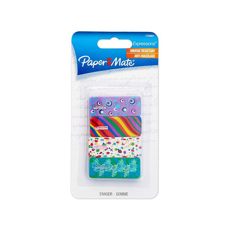 Paper Mate Expressions Eraser, Decorated Erasers, 4-Carded, Assorted Patterns