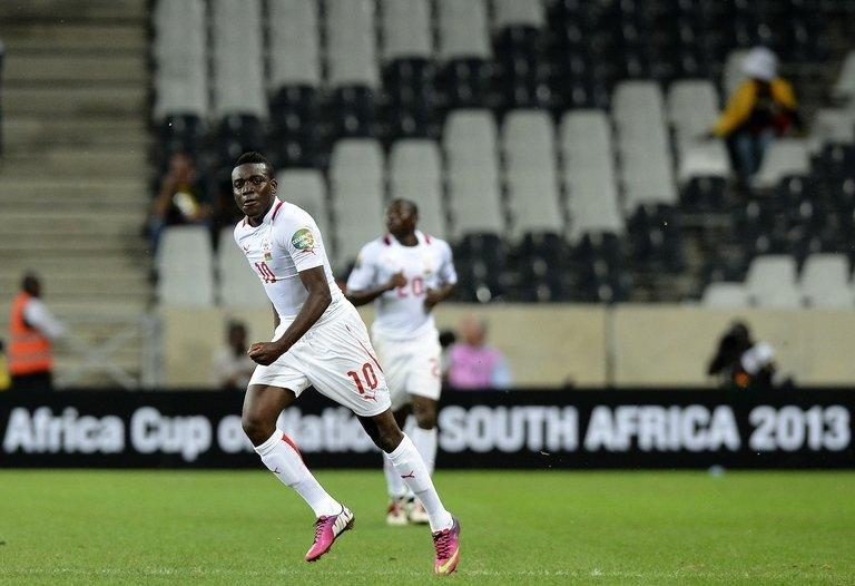 Burkina Faso's Alain Traore celebrates afer scoring a goal against Nigeria in Nelspruit on January 21, 2013. The Burkina Faso side are seeking to end an 18-match winless streak at the Nations Cup