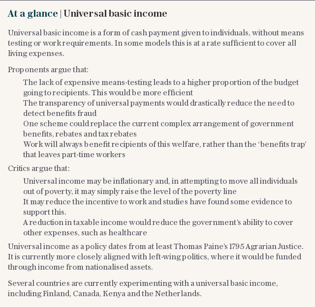 At a glance | Universal basic income