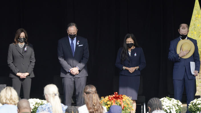 Vice President Kamala Harris and her husband Douglas Emhoff attend a memorial for the passengers and crew of United Flight 93, Saturday Sept. 11, 2021, in Shanksville, Pa., on the 20th anniversary of the Sept. 11, 2001, attacks. Secretary of Interior Deb Haaland and Gordon Felt, brother of Edward Porter Felt and President of Familes for Flight 93, are right. (AP Photo/Jacquelyn Martin)