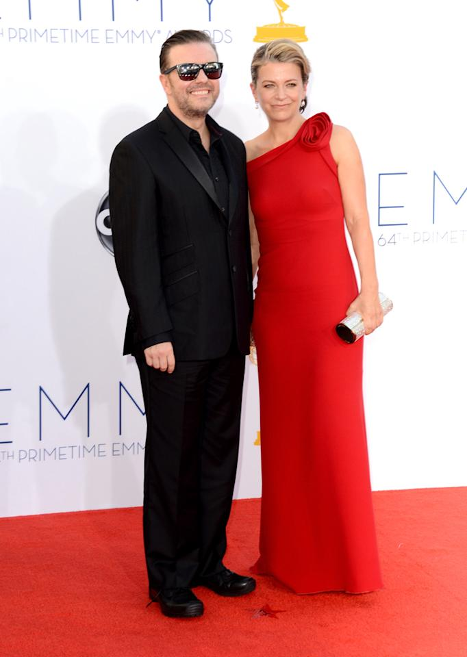 Ricky Gervais (L) and Jane Fallon arrive at the 64th Primetime Emmy Awards at the Nokia Theatre in Los Angeles on September 23, 2012.