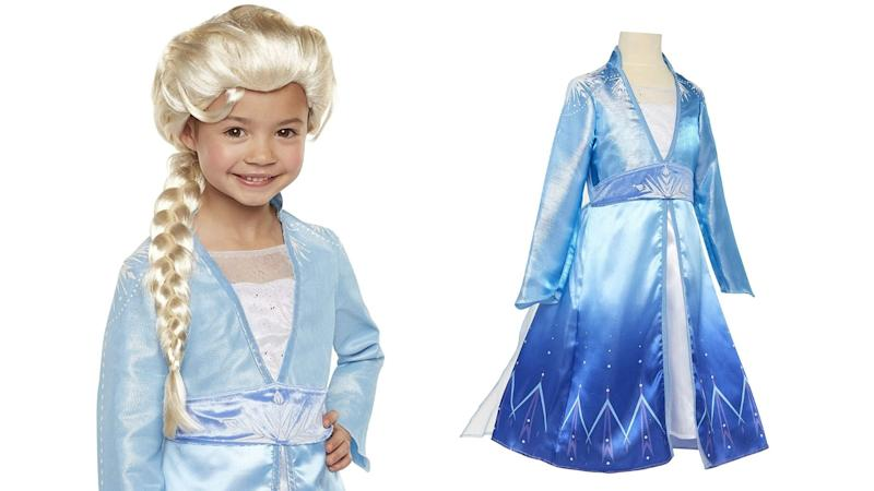 Queen Elsa wig and costume. Images via Amazon.