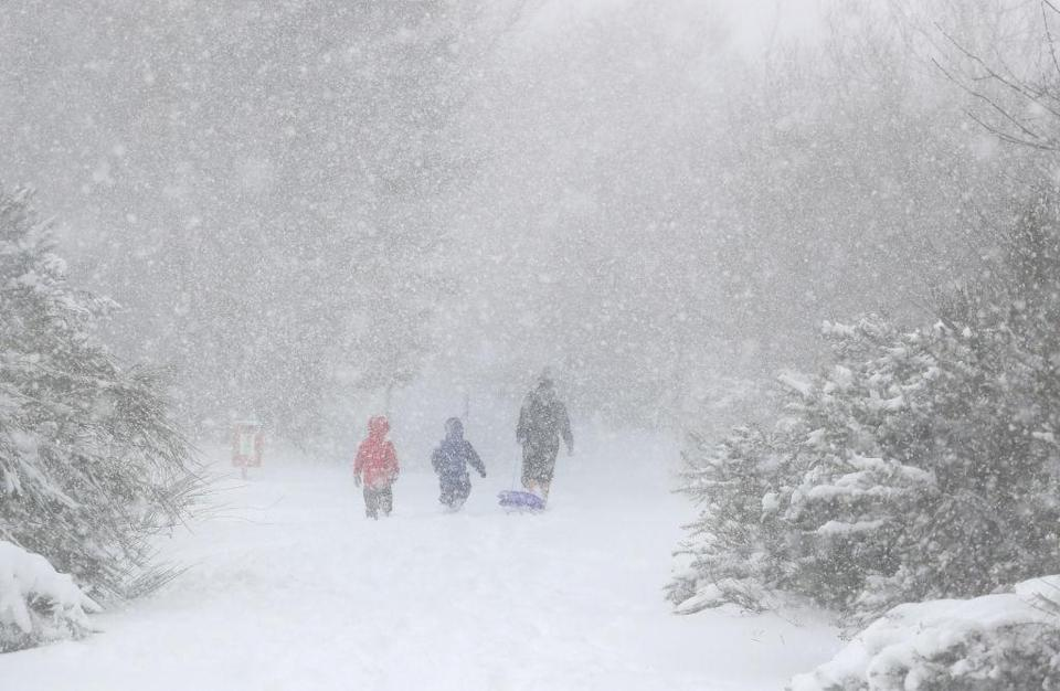 <p>People going sledging in snowy conditions in Larbert, near Falkirk. (Getty) </p>