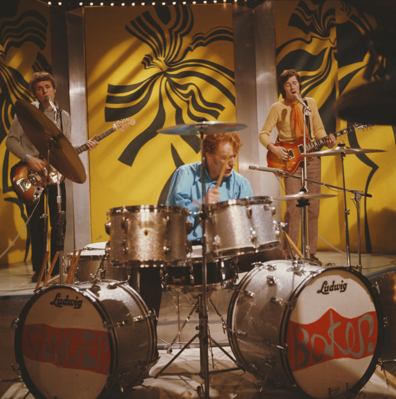 Cream perform on 'Top of the Pops' in 1967. Left to right: bassist Jack Bruce, drummer Ginger Baker and guitarist Eric Clapton. (Photo by Mark and Colleen Hayward/Redferns)
