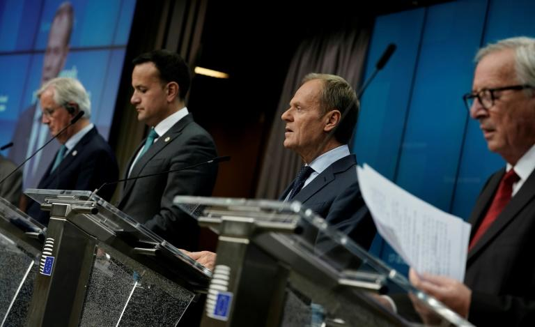 (L-R): EU chief Brexit negotiator Michel Barnier, Irish Prime Minister Leo Varadkar, European Council President Donald Tusk and European Commission President Jean-Claude Juncker speak at a press conference during a Brexit summit in Brussels