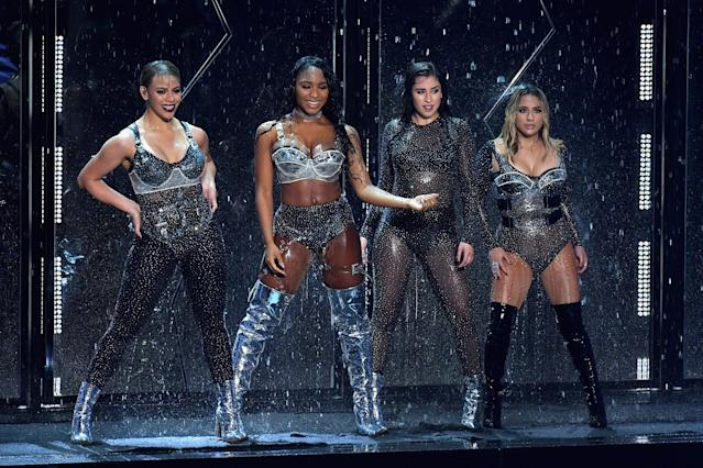 <p>Dinah Jane, Normani Kordei, Lauren Jauregui, and Ally Brooke of Fifth Harmony perform during the VMAs. (Photo: Lester Cohen/WireImage) </p>