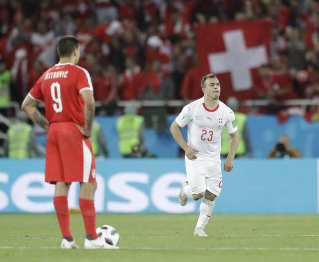 Switzerland's Xherdan Shaqiri runs after scoring his side's second goal during the group E match between Switzerland and Serbia at the 2018 soccer World Cup in the Kaliningrad Stadium in Kaliningrad, Russia, Friday, June 22, 2018. (AP Photo/Matthias Schrader)