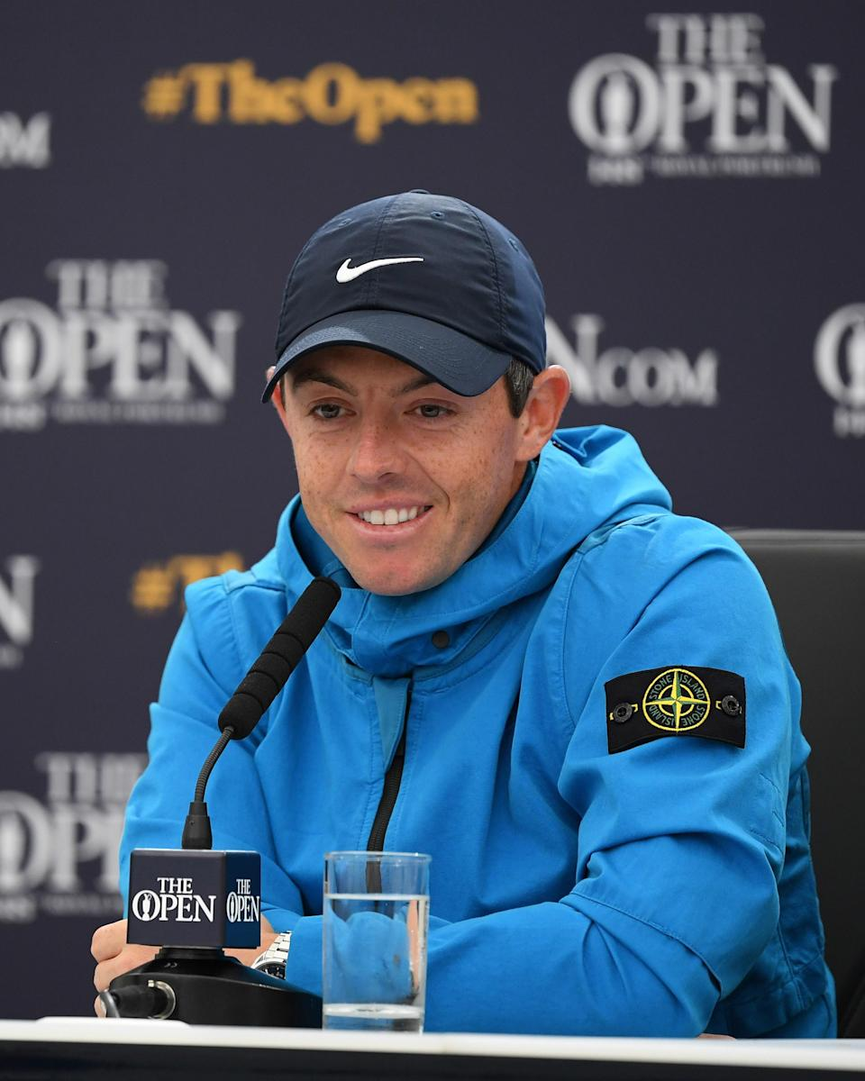 """<h1 class=""""title"""">July 18: Rory McIlroy</h1> <div class=""""caption""""> Rory McIlroy takes the new Nike x Stone Island collab for a spin at the British Open. </div> <cite class=""""credit"""">Getty Images</cite>"""