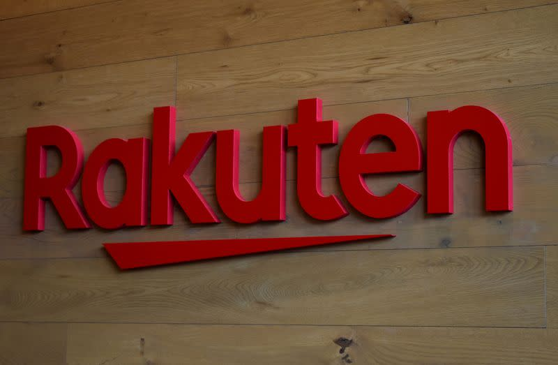 The logo of Rakuten is pictured at the headquarters of Rakuten in Tokyo