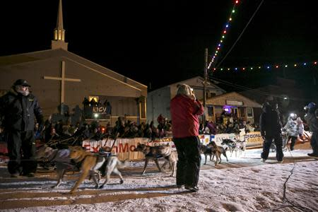 Aliy Zirkle pulls into the finish line in second place only 2 minutes and 22 seconds behind winner Dallas Seavey during the Iditarod dog sled race in Nome, Alaska, March 11, 2014. REUTERS/Nathaniel Wilder
