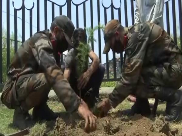 Plantation drive by youth of Kashmir and the Indian Army (Photo/ANI)
