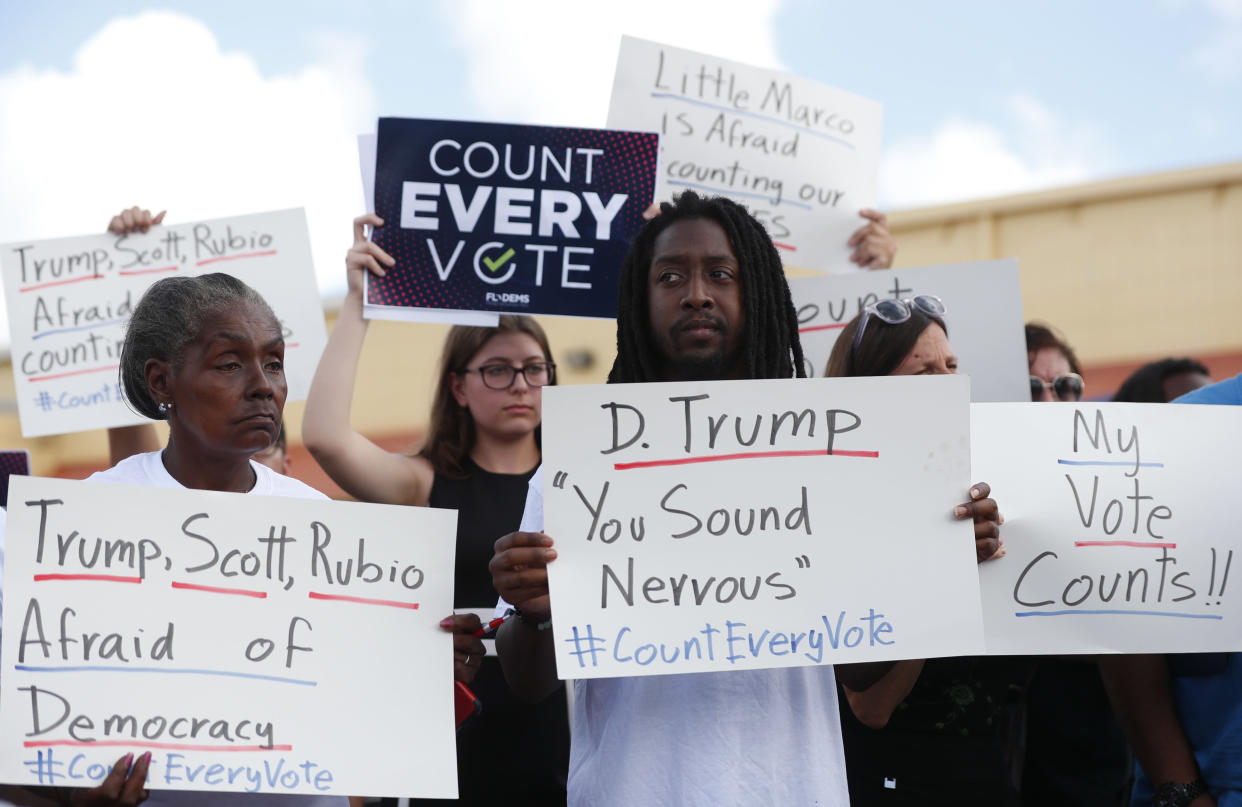 "<span class=""s1"">Demonstrators gather Wednesday outside the Broward County elections office where workers are recounting ballots. (Photo: Wilfredo Lee/AP)</span>"