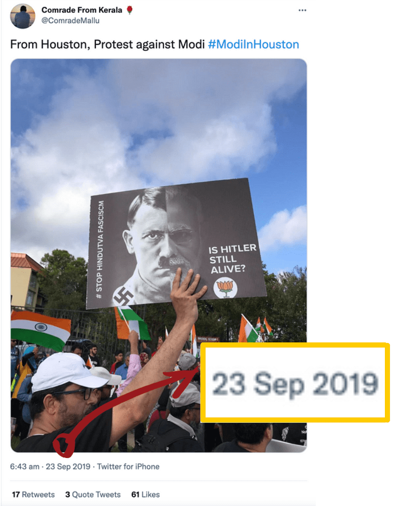 """<div class=""""paragraphs""""><p>A 2019 tweet suggested that the image could be from PM Modi's visit to Houston.</p></div>"""