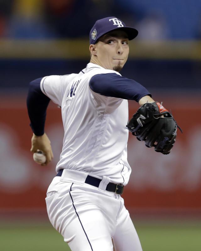 Tampa Bay Rays starting pitcher Blake Snell goes into his windup during the first inning of the team's baseball game against the Boston Red Sox on Thursday, May 24, 2018, in St. Petersburg, Fla. (AP Photo/Chris O'Meara)